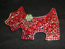 Dog Brooch Pin Red Crystal Schnauzer