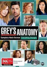 Grey's Anatomy Season 9 ( 2013, 6-Disc Set) DVD Region 4 (VG Condition) greys