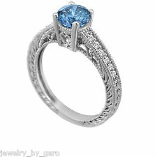 ENHANCED FANCY BLUE DIAMOND ENGAGEMENT RING 14K WHITE GOLD 0.62CT VINTAGE STYLE