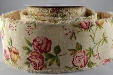 Rose Floral imprimé toile de jute ruban fleurs 60 mm jolie Design Vintage Mariage