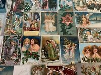 Big~Estate~Lot of 25~Antique Christmas ANGEL~Angels~ Xmas Postcards~Early 1900's