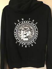 ARM THE ANIMALS Raw Edge Fleece Zip Hoodie Sweatshirt KING OF JUNGLE LION Large