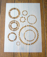 Cogs Gears Steampunk Stencil Mask Reusable Mylar Sheet for Arts & Crafts