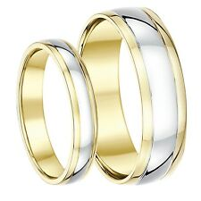 9ct Two-colour Yellow and White Gold His & Hers Wedding Rings 4mm 6mm
