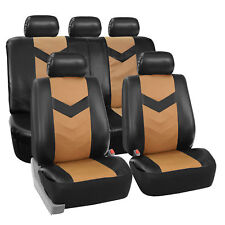Faux Synthetic Leather Car Seat Covers Airbag / Split Ready Tan Black