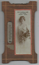 1910 Wood & Glass Advertising Thermometer First National Bank Syracuse Kansas