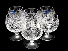Set of 6 Russian Cut Crystal Snifter Glasses 10 oz - USSR Soviet Whiskey Goblet