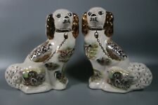 2x Staffordshire Pottery Mantle Wally Dogs Gold Spaniels