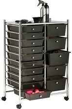 15 Plastic Drawer Chrome Trolley 4 Wheel Home Office Salon Make Up Storage Unit