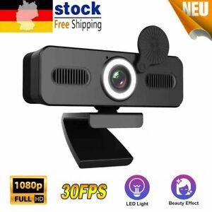1080p FHD Webcam 30FPS USB 2.0 Mit Mikrofon Weitwinkel Webkamera für Laptop PC