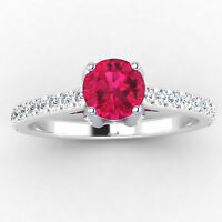 Real 0.71 Ct Diamond Natural Gemstone Ruby Ring 14K White Gold Size N M O P
