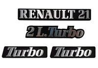 LOGO RENAULT 21 2L TURBO MONOGRAMME CHROME ET NOIR KIT DE 4 LOGOS PHASE 2