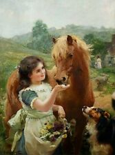 "HORSE w GIRL called ""A SWEET TOOTH"".Pic 8 x11"" on 16"" Fabric Panel to Sew -SALE!"