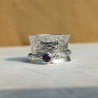 Amethyst 925 Sterling Silver Spinner Ring Meditation Statement Jewelry A336