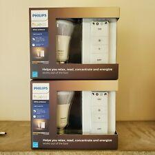 Two (2) Philips Hue A19 Dimmable LED Light Bulb Starter Kit Energy Saver Smart