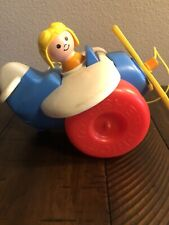 Fisher Price Little People Pull Toy Vintage airplane jet plane Quaker Oats 1980