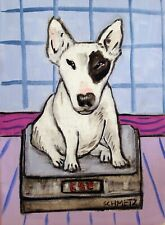 Bull terrier dog bathroom 8.5x11 glossy artist prints animals gift new