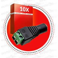 10 x DC Power Female Cable Adaptor Plug Jack Wire Connector for CCTV Camera (UK)