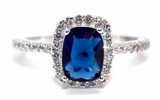 Sterling Silver Blue Sapphire And Diamond 3.6ct Ring (925) Size 7 (N)