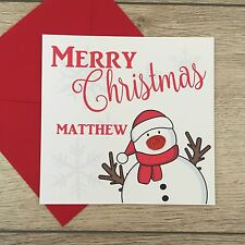 Personalised Handmade Christmas Snowman Card - Add Any Name