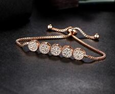 Wedding Rose Gold Bracelet Adjustable Snake Chain Crystal Exclusive GIFT Bridal