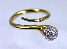 Vintage 18K Gold Diamond Snake Ring Estate