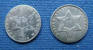 *TWO NICE LOOKING THREE CENTS SILVER 1858 & 1859 - ESTATE FRESH*