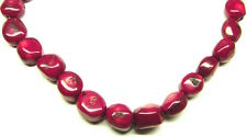 """15.5"""" Red Bamboo Coral Pebble Nugget ~24-28 Beads ap(12-14)x(14-18)mm K1618"""