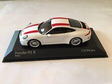 Minichamps Porsche 911 R White & Red Stripe Die Cast Model Car Display Case New