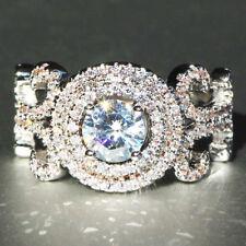2018 Ellipse White Sapphire 925 Silver Filled Birthstone Engagement Wedding Ring