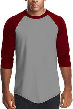 Gray Burgundy Long sleeve baseball T shirt Men's Raglan baseball T-shirt Pro5