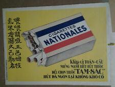 AFFICHE PUB ANCIENNE CIGARETTES NATIONALE CHINE CHINA ASIE ASIA VIETNAM