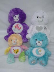 "4 Lot Care Bear 25th ANNIVERSARY Silver Fluffy Plush 12"" Dream Work Heart Tender"