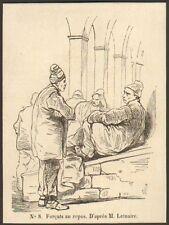 29 BREST BAGNE PENITENTIER FORCATS AU REPOS GRAVURE 1849 ENGRAVING