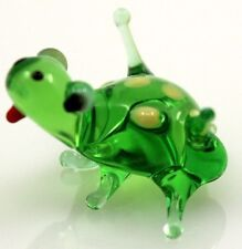 "Tiny Green Blown Glass, Frog, Figurine, ""Murano"" Style, Hand Made in Russia"