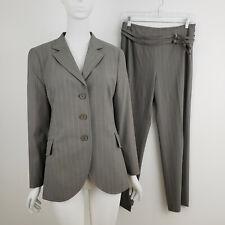 Akris Punto 2-Piece Suit Size 6 Gray Pinstripe Blazer Jacket Pants Wool Stretch