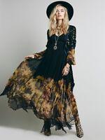 2018 Boho Women's Long Sleeve  Fashion Chiffon Dresses Large Flower Print Dress#
