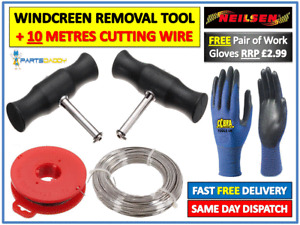 WINDSCREEN GLASS CUTTING OUT REMOVAL WIRE & HANDLES CHEESE WIRE TOOL KIT UK 6-27