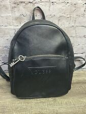 Guess Women's Black Faux Leather Backpack Logo Front Pocket 12x10