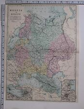 1891 ANTIQUE MAP ~ RUSSIA IN EUROPE CRIMEA POLAND ST PETERSBURG MOSCOW ODESSA