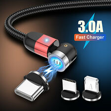 360° Fast Charging LED Cable Magnetic Charger IOS Lightning Type-C Micro USB