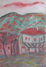 Expressionist Landscape houses oil painting signed