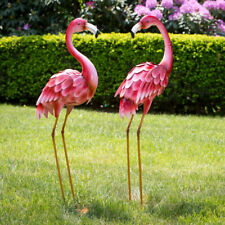 Pair of Bright Standing Pink Flamingo Statues Yard Garden Patio Art Statue