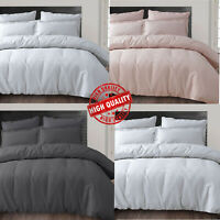 100% Pure Modern Cotton Brushed Duvet Covers & Pillowcase Waffle Flannelette Set