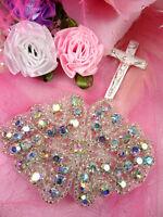 "A0477 Cinderella Aurora Borealis Crystal AB Rhinestone Beaded Applique Bridal 3"""