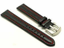 20mm Black/Red Genuine Leather Watch Replacement Band