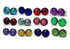 Dichroic Glass Stud Earrings 7 - 8 mm Titanium hypoallergenic For Sensitive Skin