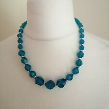 Dorothy Perkins Womens Blue Silver Toned Faceted Beaded Necklace Costume