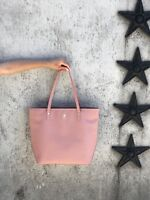 """Dusty rose pink genuine saffiano leather tote 13"""" laptop pocket professional"""