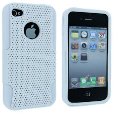 White Hybrid Hard Case Cover with White Silicone Inner Case for iPhone 4 / 4S